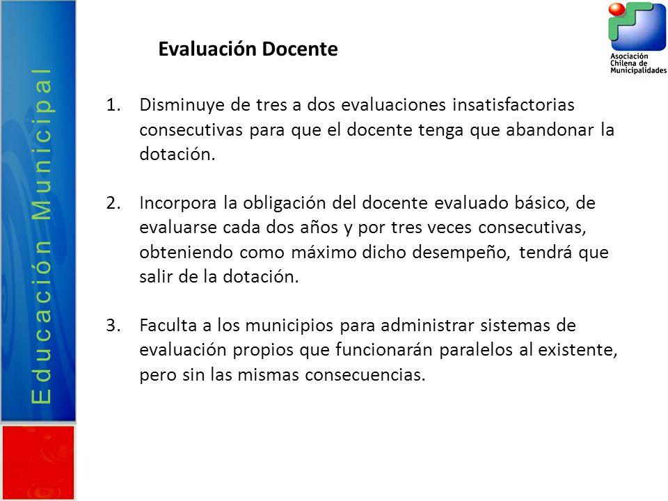 Educación Municipal Evaluación Docente 1.Disminuye de tres a dos evaluaciones insatisfactorias consecutivas para que el docente tenga que abandonar la