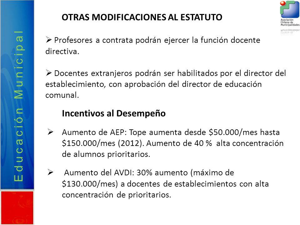 Educación Municipal OTRAS MODIFICACIONES AL ESTATUTO Profesores a contrata podrán ejercer la función docente directiva. Docentes extranjeros podrán se