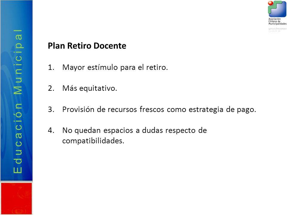 Plan Retiro Docente 1.Mayor estímulo para el retiro. 2.Más equitativo. 3.Provisión de recursos frescos como estrategia de pago. 4.No quedan espacios a