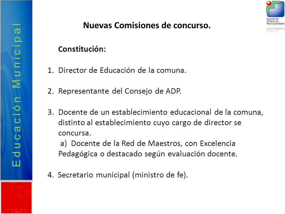 Educación Municipal Nuevas Comisiones de concurso. Constitución: 1.Director de Educación de la comuna. 2.Representante del Consejo de ADP. 3.Docente d