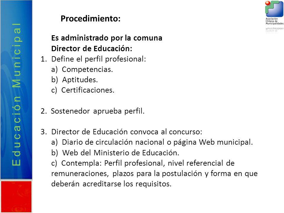 Educación Municipal Procedimiento: Es administrado por la comuna Director de Educación: 1.Define el perfil profesional: a) Competencias. b) Aptitudes.