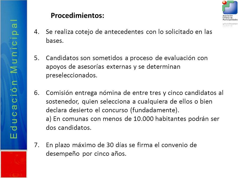 Educación Municipal Procedimientos: 4.Se realiza cotejo de antecedentes con lo solicitado en las bases. 5.Candidatos son sometidos a proceso de evalua