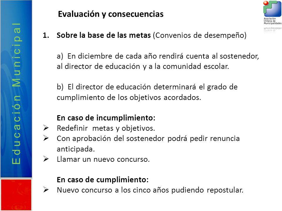 Educación Municipal Evaluación y consecuencias 1.Sobre la base de las metas (Convenios de desempeño) a) En diciembre de cada año rendirá cuenta al sos