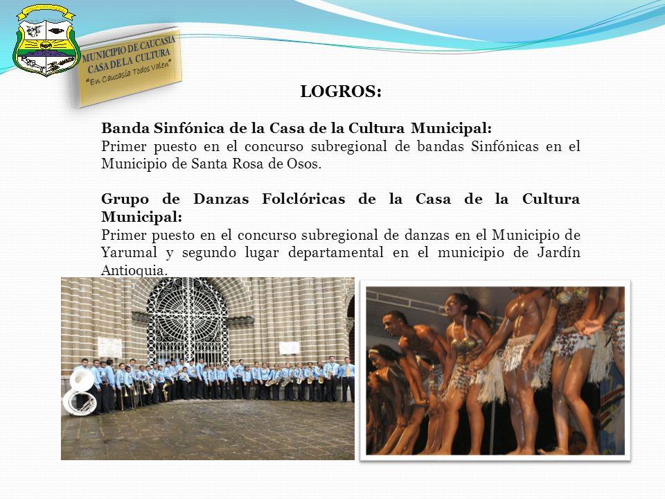 LOGROS: Banda Sinfónica de la Casa de la Cultura Municipal: Primer puesto en el concurso subregional de bandas Sinfónicas en el Municipio de Santa Rosa de Osos.