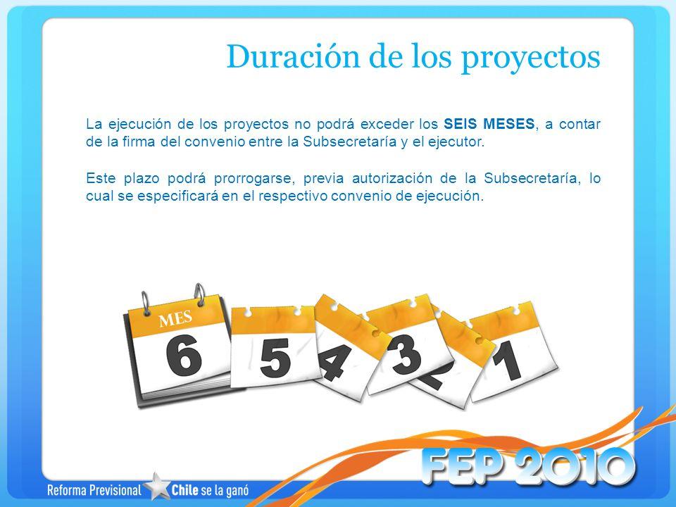 La ejecución de los proyectos no podrá exceder los SEIS MESES, a contar de la firma del convenio entre la Subsecretaría y el ejecutor. Este plazo podr