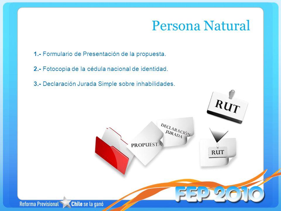 1.- Formulario de Presentación de la propuesta. 2.- Fotocopia de la cédula nacional de identidad. 3.- Declaración Jurada Simple sobre inhabilidades. P