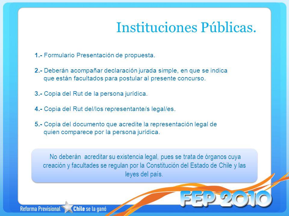 1.- Formulario Presentación de propuesta. 2.- Deberán acompañar declaración jurada simple, en que se indica que están facultados para postular al pres