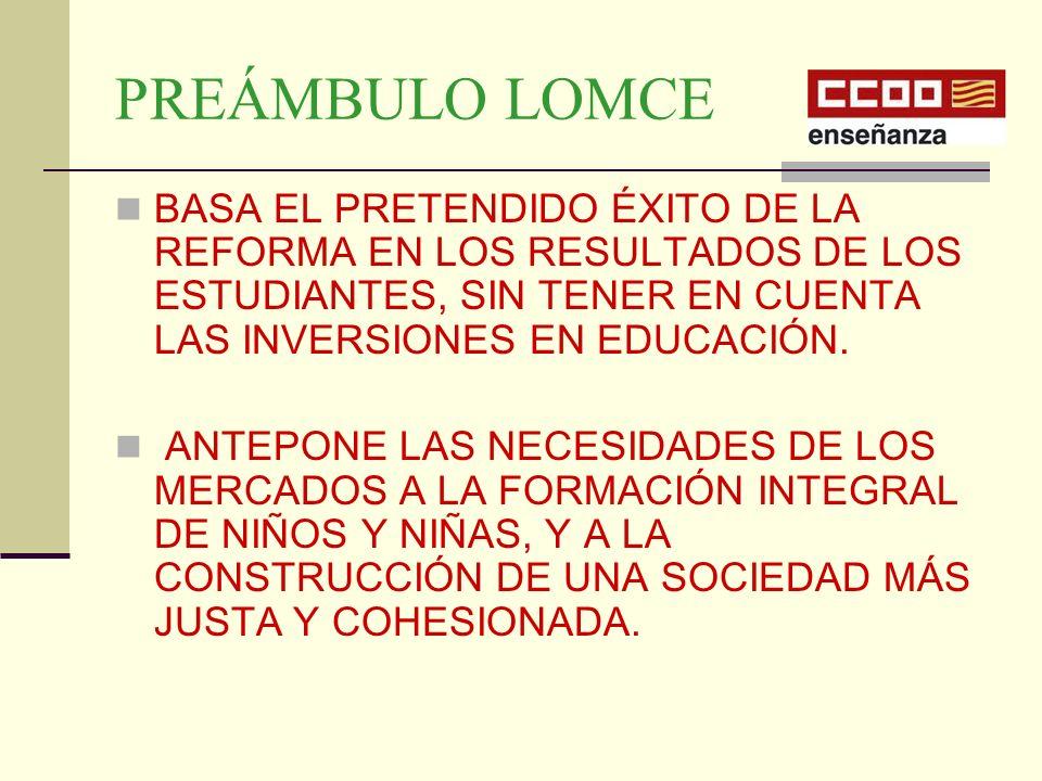 PREÁMBULO LOMCE BASA EL PRETENDIDO ÉXITO DE LA REFORMA EN LOS RESULTADOS DE LOS ESTUDIANTES, SIN TENER EN CUENTA LAS INVERSIONES EN EDUCACIÓN. ANTEPON