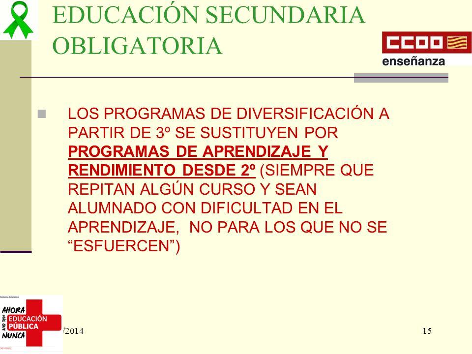 02/05/201415 EDUCACIÓN SECUNDARIA OBLIGATORIA LOS PROGRAMAS DE DIVERSIFICACIÓN A PARTIR DE 3º SE SUSTITUYEN POR PROGRAMAS DE APRENDIZAJE Y RENDIMIENTO