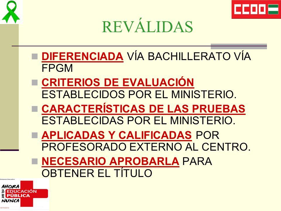 REVÁLIDAS DIFERENCIADA VÍA BACHILLERATO VÍA FPGM CRITERIOS DE EVALUACIÓN ESTABLECIDOS POR EL MINISTERIO. CARACTERÍSTICAS DE LAS PRUEBAS ESTABLECIDAS P