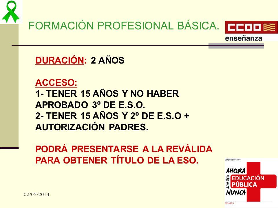 02/05/201418 FORMACIÓN PROFESIONAL BÁSICA. DURACIÓN: 2 AÑOS ACCESO: 1- TENER 15 AÑOS Y NO HABER APROBADO 3º DE E.S.O. 2- TENER 15 AÑOS Y 2º DE E.S.O +