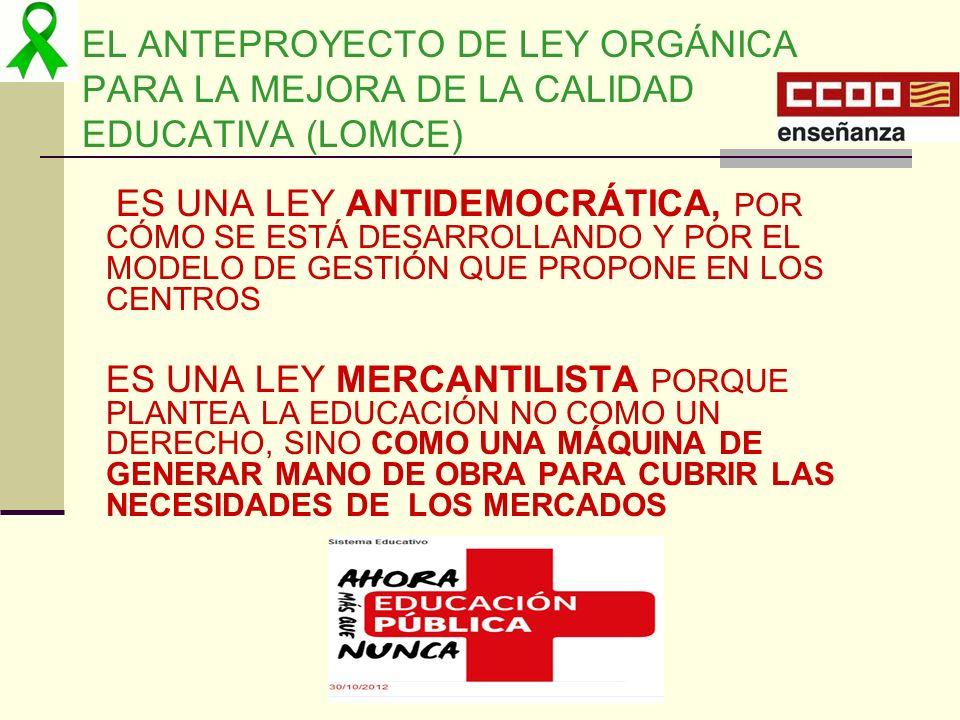 EL ANTEPROYECTO DE LEY ORGÁNICA PARA LA MEJORA DE LA CALIDAD EDUCATIVA (LOMCE) ES UNA LEY ANTIDEMOCRÁTICA, POR CÓMO SE ESTÁ DESARROLLANDO Y POR EL MOD