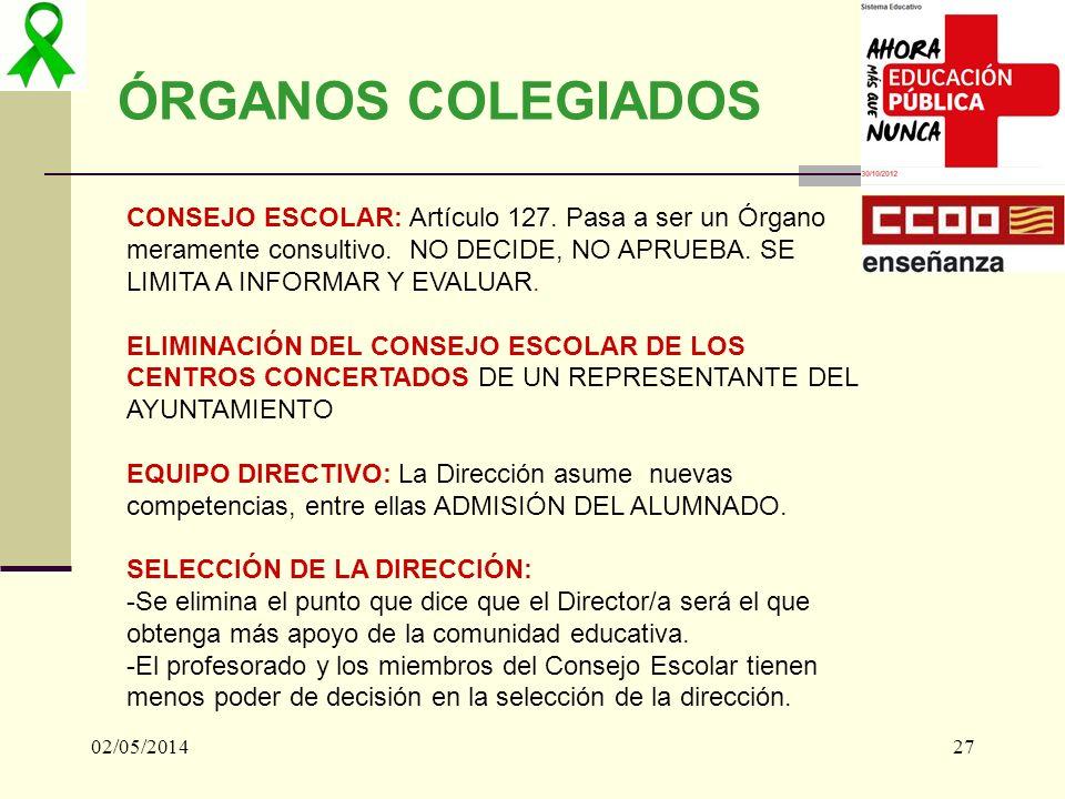 02/05/201427 ÓRGANOS COLEGIADOS CONSEJO ESCOLAR: Artículo 127. Pasa a ser un Órgano meramente consultivo. NO DECIDE, NO APRUEBA. SE LIMITA A INFORMAR