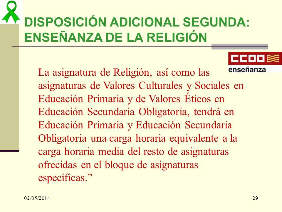 02/05/201429 DISPOSICIÓN ADICIONAL SEGUNDA: ENSEÑANZA DE LA RELIGIÓN La asignatura de Religión, así como las asignaturas de Valores Culturales y Socia