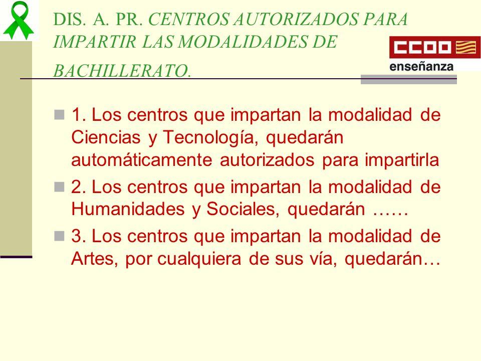 DIS. A. PR. CENTROS AUTORIZADOS PARA IMPARTIR LAS MODALIDADES DE BACHILLERATO. 1. Los centros que impartan la modalidad de Ciencias y Tecnología, qued