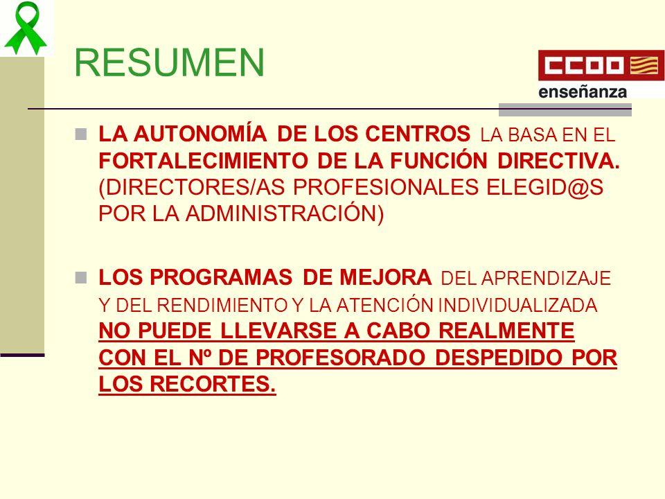 RESUMEN LA AUTONOMÍA DE LOS CENTROS LA BASA EN EL FORTALECIMIENTO DE LA FUNCIÓN DIRECTIVA. (DIRECTORES/AS PROFESIONALES ELEGID@S POR LA ADMINISTRACIÓN