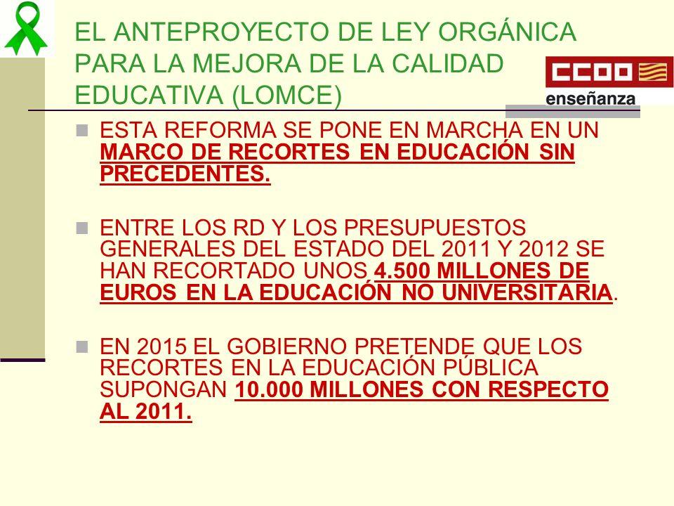EL ANTEPROYECTO DE LEY ORGÁNICA PARA LA MEJORA DE LA CALIDAD EDUCATIVA (LOMCE) ESTA REFORMA SE PONE EN MARCHA EN UN MARCO DE RECORTES EN EDUCACIÓN SIN
