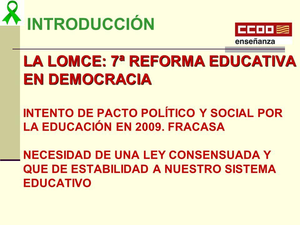 INTRODUCCIÓN LA LOMCE: 7ª REFORMA EDUCATIVA EN DEMOCRACIA INTENTO DE PACTO POLÍTICO Y SOCIAL POR LA EDUCACIÓN EN 2009. FRACASA NECESIDAD DE UNA LEY CO