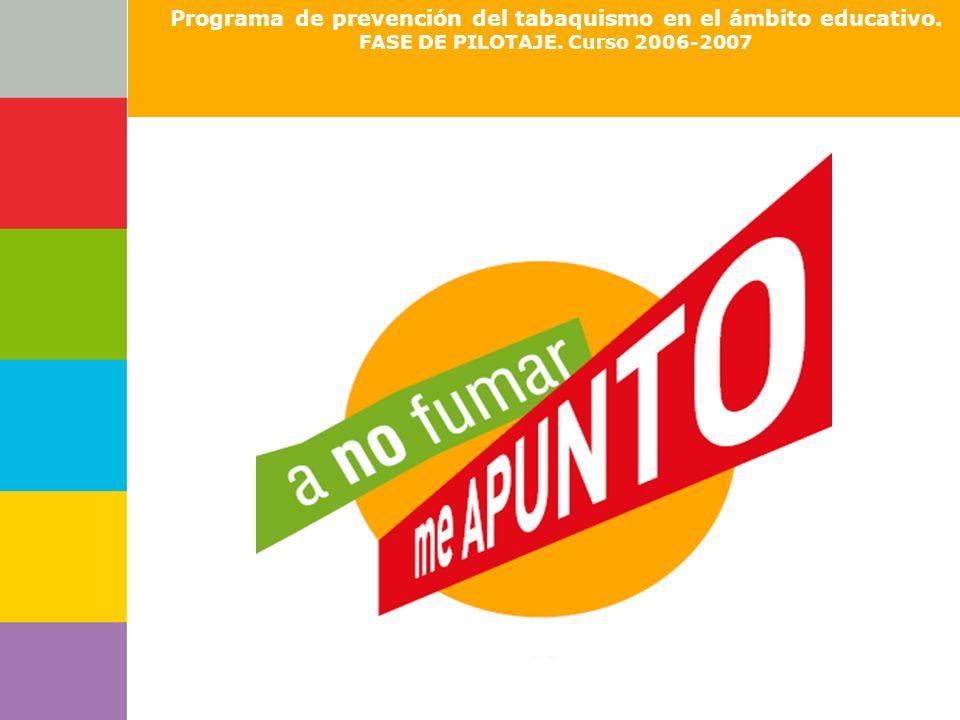 Consejería de Programa de prevención del tabaquismo en el ámbito educativo. FASE DE PILOTAJE. Curso 2006-2007