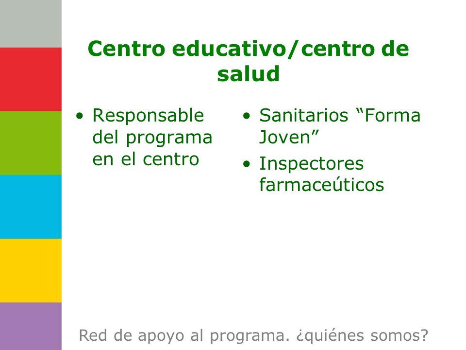 Consejería de Centro educativo/centro de salud Responsable del programa en el centro Sanitarios Forma Joven Inspectores farmaceúticos Red de apoyo al