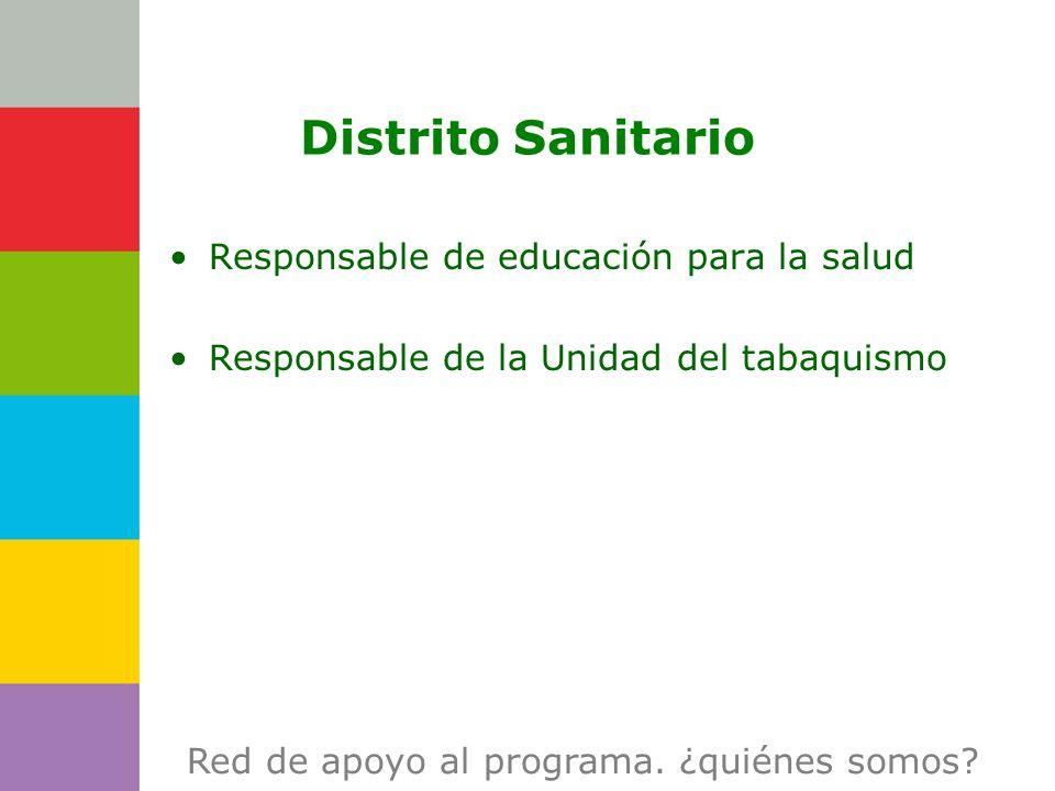 Consejería de Distrito Sanitario Responsable de educación para la salud Responsable de la Unidad del tabaquismo Red de apoyo al programa. ¿quiénes som