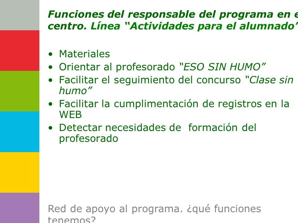 Consejería de Funciones del responsable del programa en el centro.