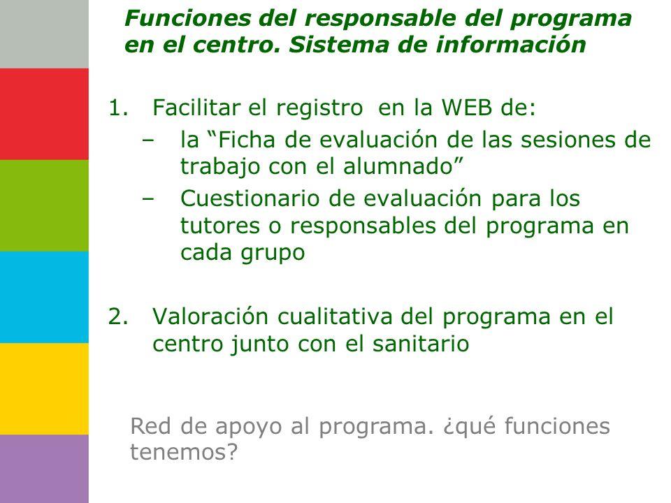 Consejería de 1.Facilitar el registro en la WEB de: –la Ficha de evaluación de las sesiones de trabajo con el alumnado –Cuestionario de evaluación par