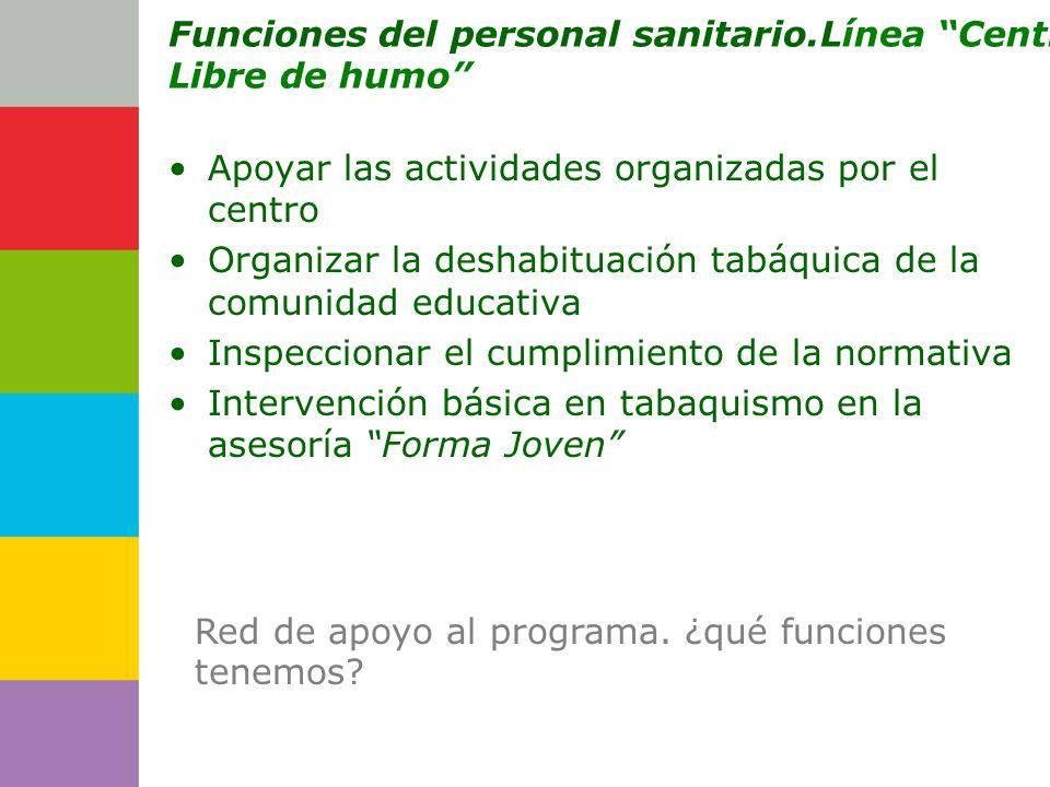 Consejería de Funciones del personal sanitario.Línea Centro Libre de humo Apoyar las actividades organizadas por el centro Organizar la deshabituación