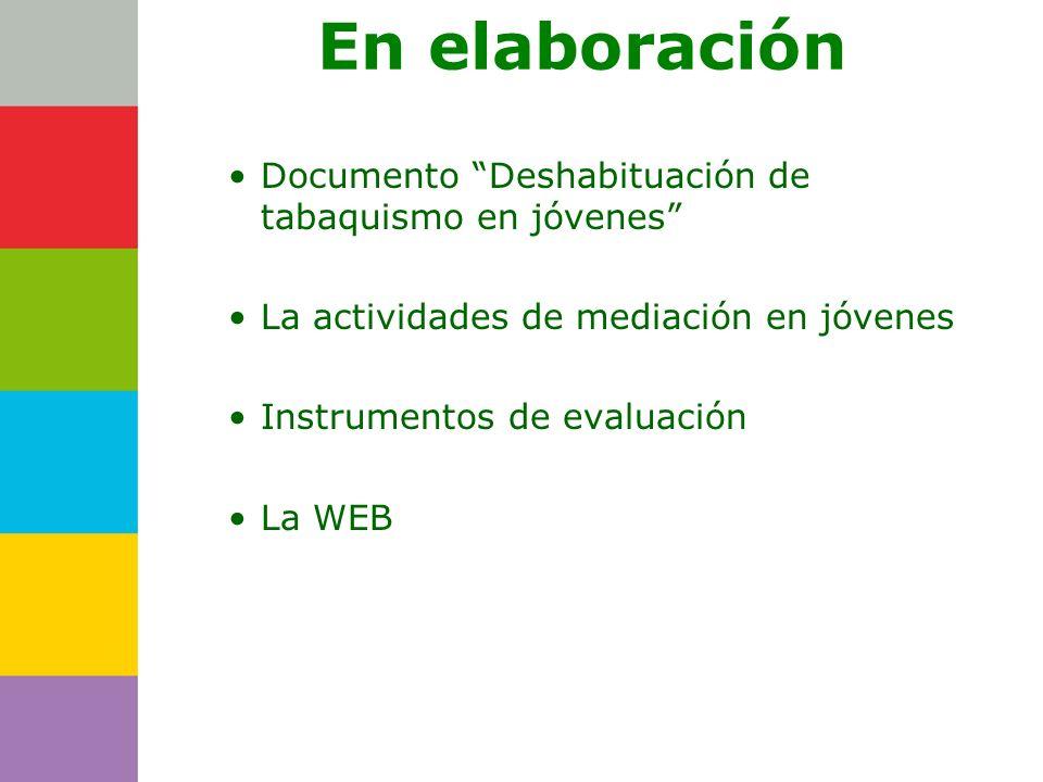 Consejería de En elaboración Documento Deshabituación de tabaquismo en jóvenes La actividades de mediación en jóvenes Instrumentos de evaluación La WE