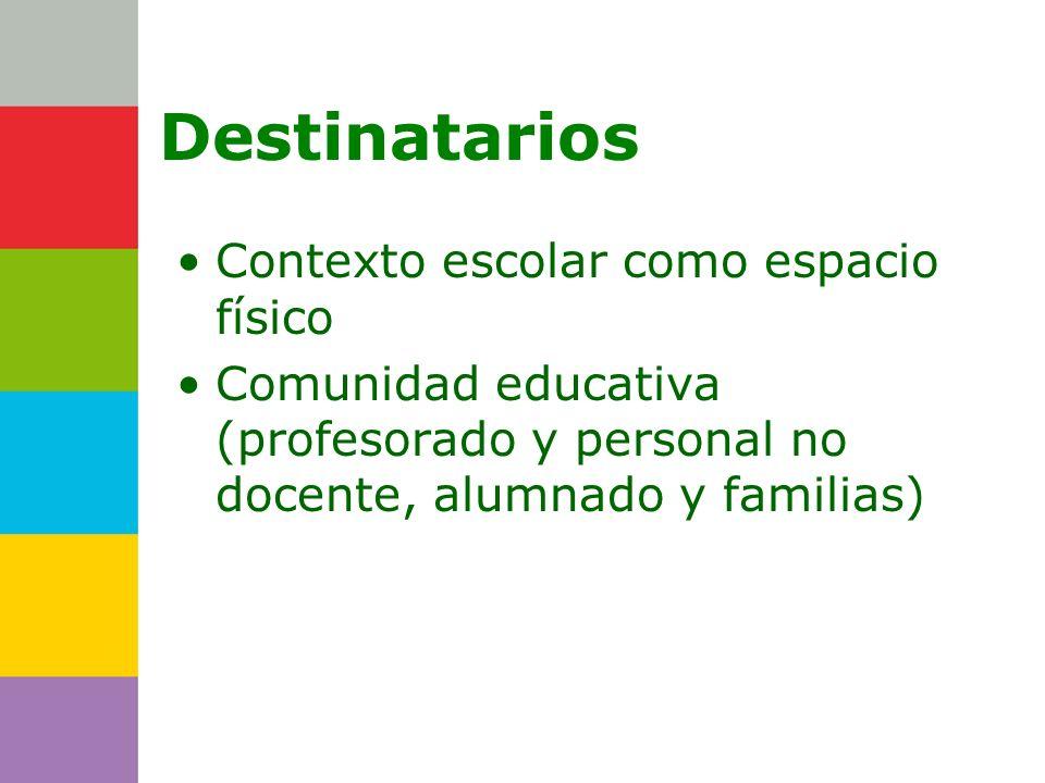 Consejería de Destinatarios Contexto escolar como espacio físico Comunidad educativa (profesorado y personal no docente, alumnado y familias)