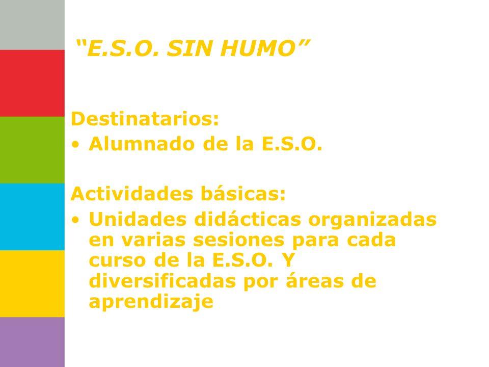 Consejería de Destinatarios: Alumnado de la E.S.O. Actividades básicas: Unidades didácticas organizadas en varias sesiones para cada curso de la E.S.O