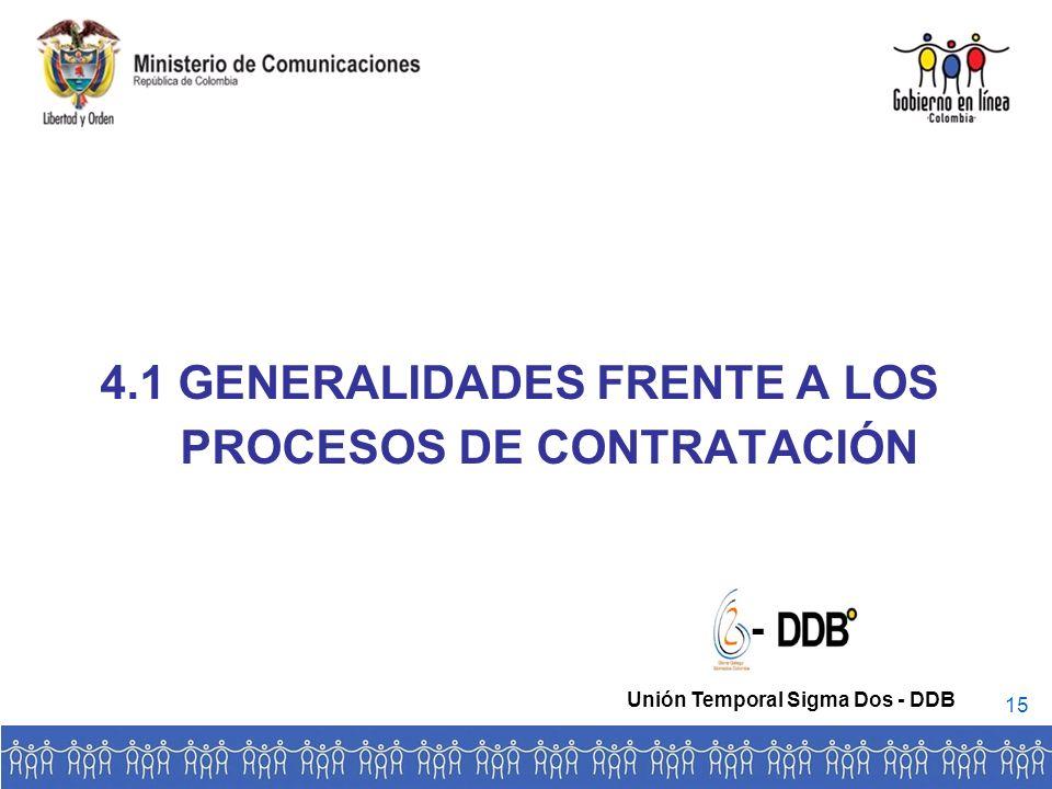 4.1 GENERALIDADES FRENTE A LOS PROCESOS DE CONTRATACIÓN - Unión Temporal Sigma Dos - DDB 15