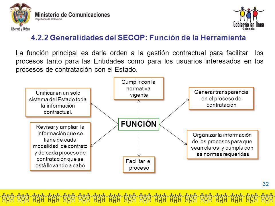 FUNCIÓN Unificar en un solo sistema del Estado toda la información contractual.