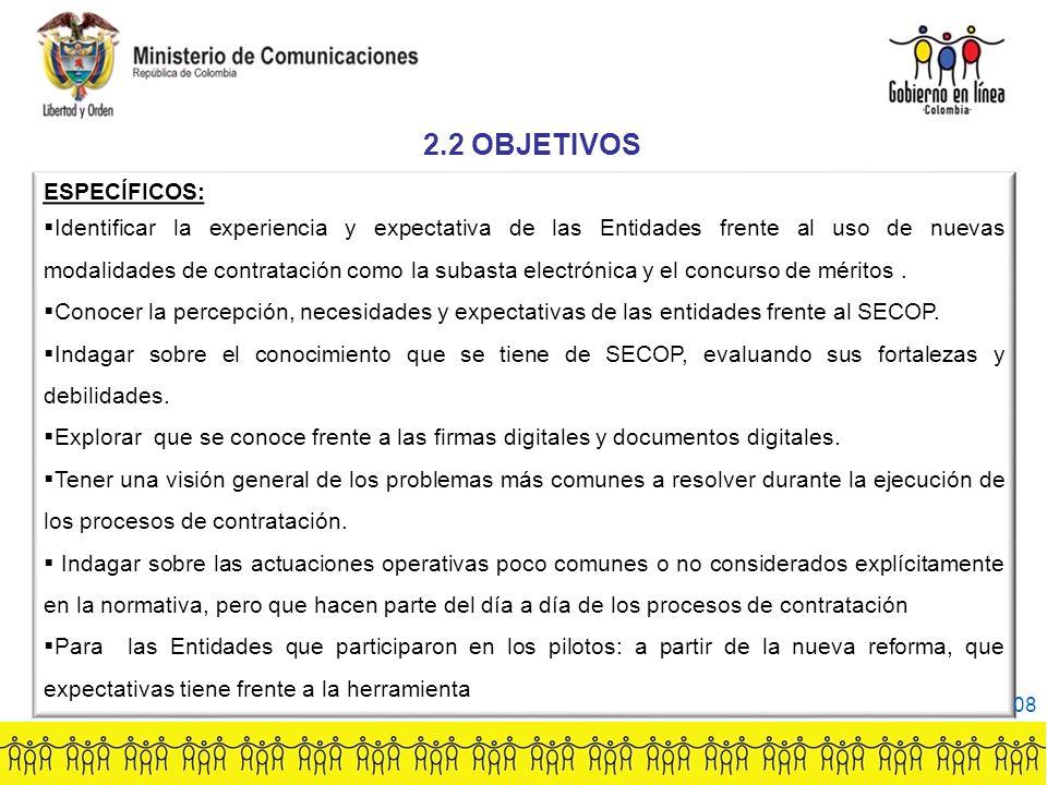 ESPECÍFICOS: Identificar la experiencia y expectativa de las Entidades frente al uso de nuevas modalidades de contratación como la subasta electrónica y el concurso de méritos.