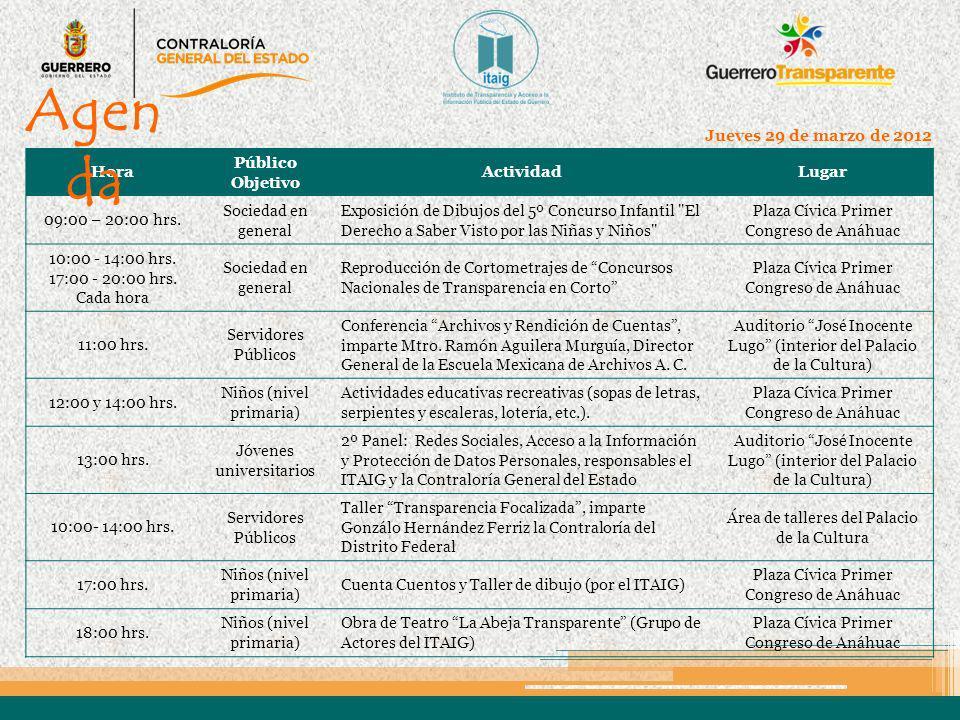 Hora Público Objetivo ActividadLugar 09:00 hrs.