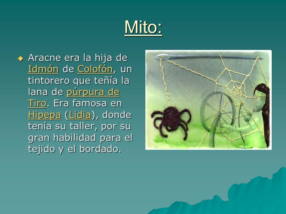 Mito: Aracne era la hija de Idmón de Colofón, un tintorero que teñía la lana de púrpura de Tiro. Era famosa en Hipepa (Lidia), donde tenía su taller,