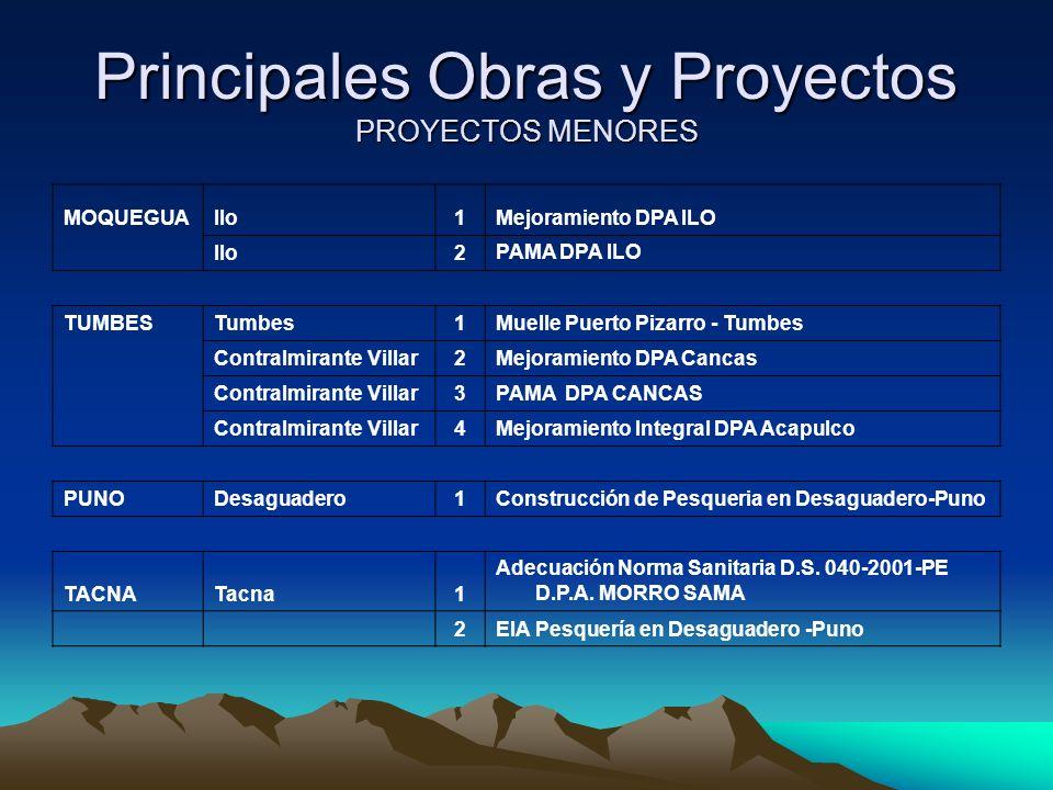 Principales Obras y Proyectos PROYECTOS MENORES MOQUEGUAIlo1Mejoramiento DPA ILO Ilo2 PAMA DPA ILO TUMBESTumbes1Muelle Puerto Pizarro - Tumbes Contralmirante Villar2Mejoramiento DPA Cancas Contralmirante Villar3PAMA DPA CANCAS Contralmirante Villar4Mejoramiento Integral DPA Acapulco PUNODesaguadero1Construcción de Pesqueria en Desaguadero-Puno TACNATacna1 Adecuación Norma Sanitaria D.S.