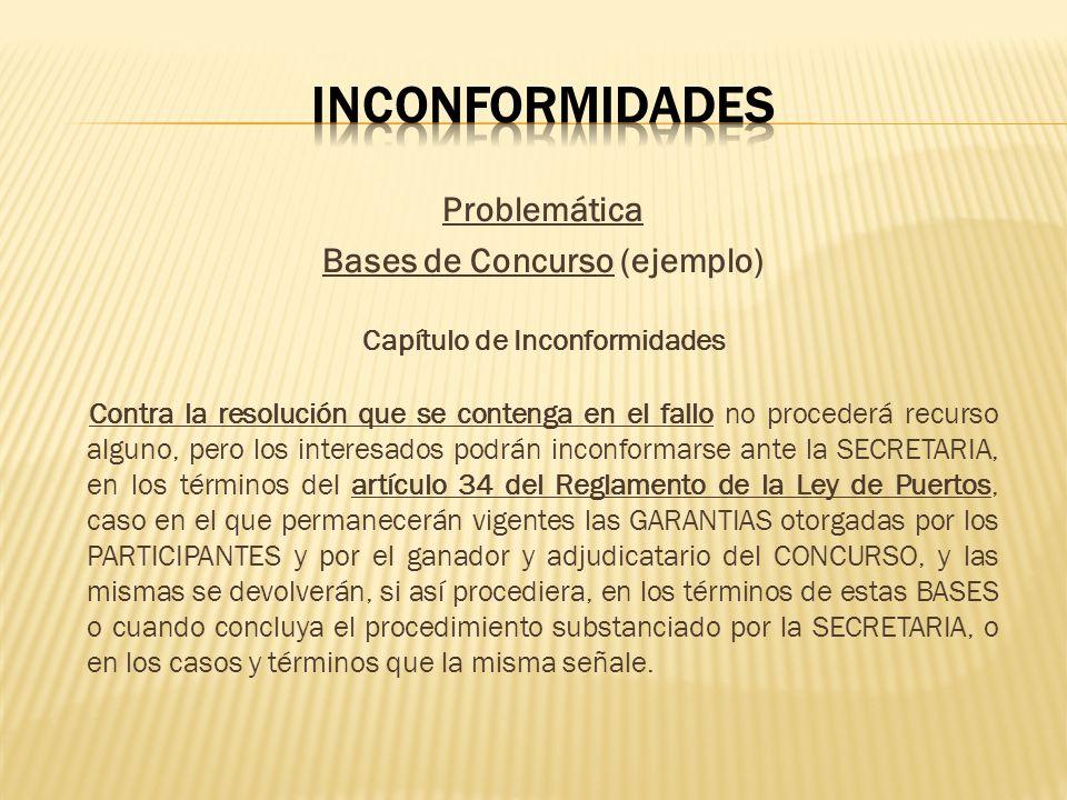 Problemática Bases de Concurso (ejemplo) Capítulo de Inconformidades Contra la resolución que se contenga en el fallo no procederá recurso alguno, per