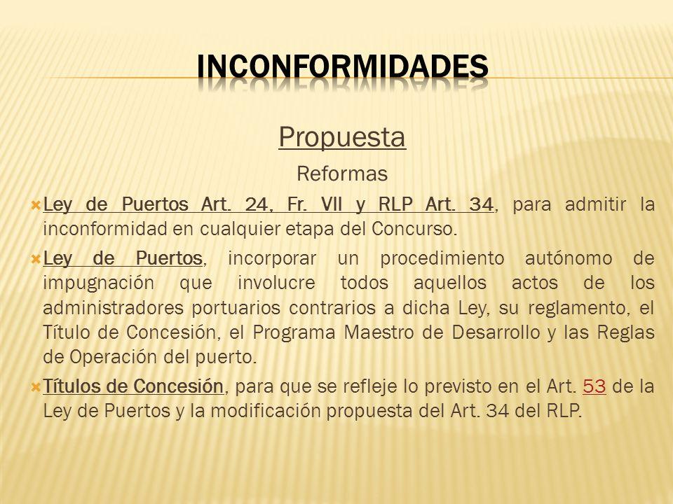 Propuesta Reformas Ley de Puertos Art. 24, Fr. VII y RLP Art. 34, para admitir la inconformidad en cualquier etapa del Concurso. Ley de Puertos, incor