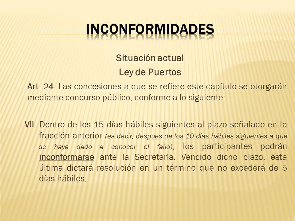 Situación actual Ley de Puertos Art. 24. Las concesiones a que se refiere este capítulo se otorgarán mediante concurso público, conforme a lo siguient
