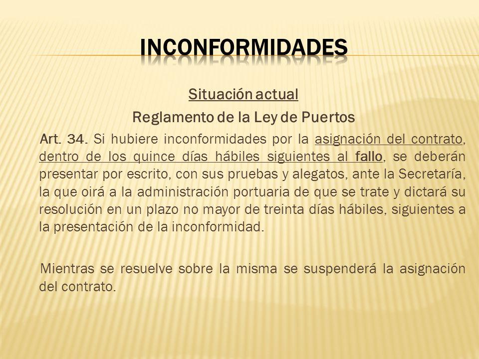 Situación actual Reglamento de la Ley de Puertos Art. 34. Si hubiere inconformidades por la asignación del contrato, dentro de los quince días hábiles