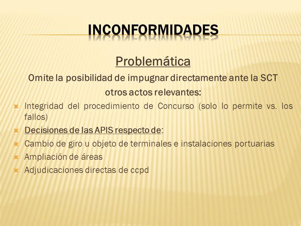 Problemática Omite la posibilidad de impugnar directamente ante la SCT otros actos relevantes: Integridad del procedimiento de Concurso (solo lo permi