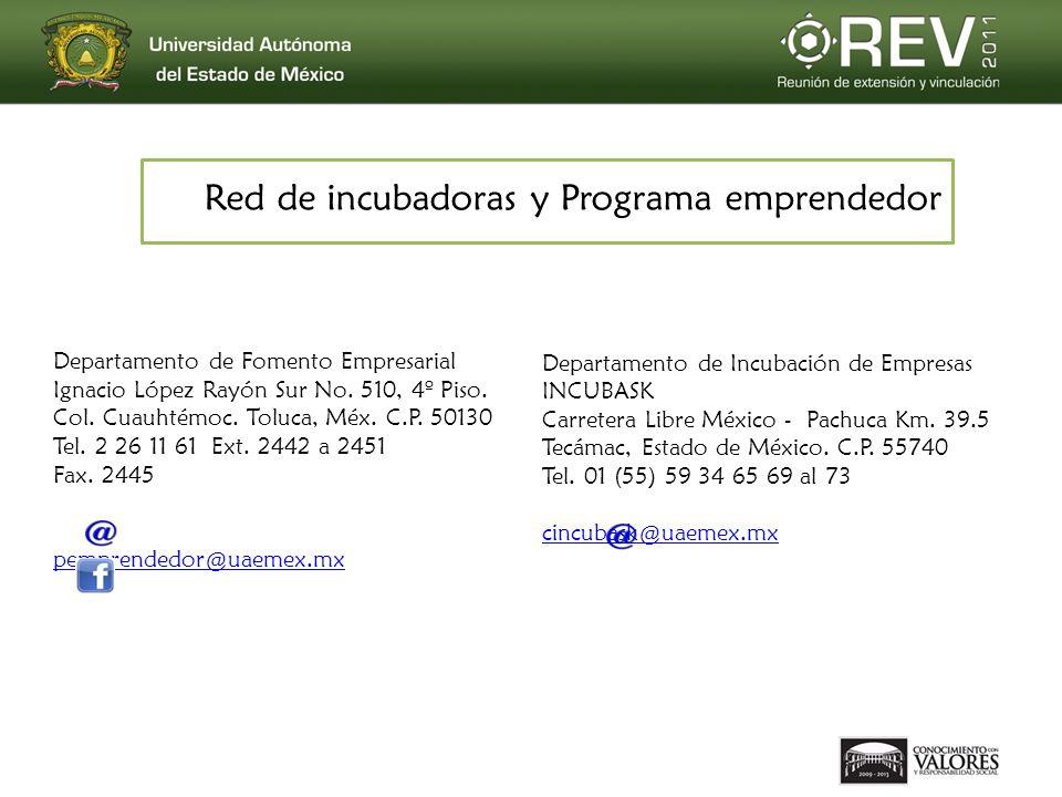 Red de incubadoras y Programa emprendedor Departamento de Fomento Empresarial Ignacio López Rayón Sur No. 510, 4º Piso. Col. Cuauhtémoc. Toluca, Méx.