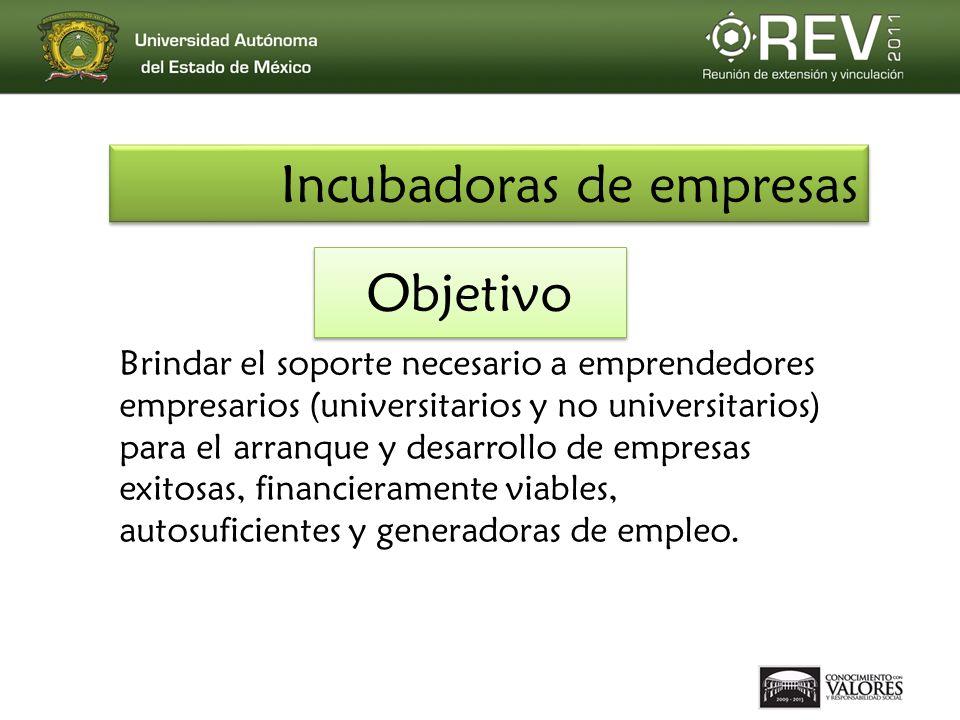 Objetivo Brindar el soporte necesario a emprendedores empresarios (universitarios y no universitarios) para el arranque y desarrollo de empresas exito