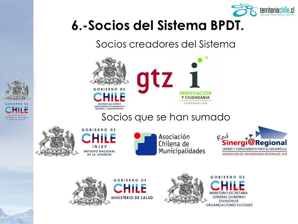 6.-Socios del Sistema BPDT. Socios creadores del Sistema Socios que se han sumado MINISTERIO SECRETARIA GENERAL GOBIERNO DIVISIÓN DE ORGANIZACIONES SO
