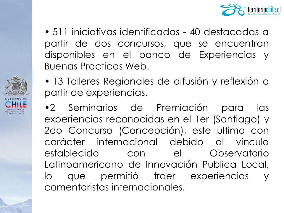 511 iniciativas identificadas - 40 destacadas a partir de dos concursos, que se encuentran disponibles en el banco de Experiencias y Buenas Practicas