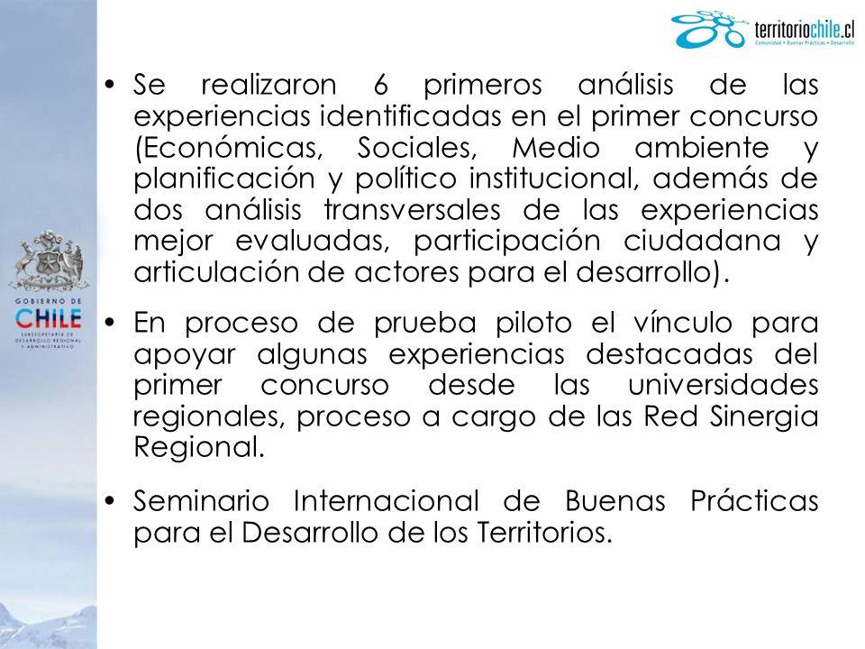 Se realizaron 6 primeros análisis de las experiencias identificadas en el primer concurso (Económicas, Sociales, Medio ambiente y planificación y polí