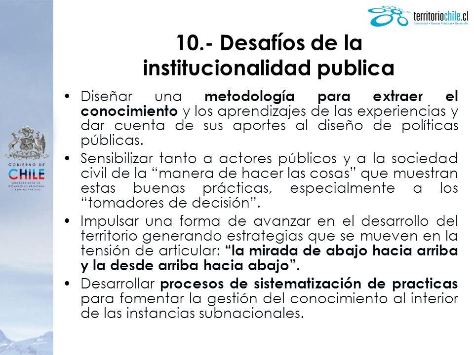 Diseñar una metodología para extraer el conocimiento y los aprendizajes de las experiencias y dar cuenta de sus aportes al diseño de políticas públicas.