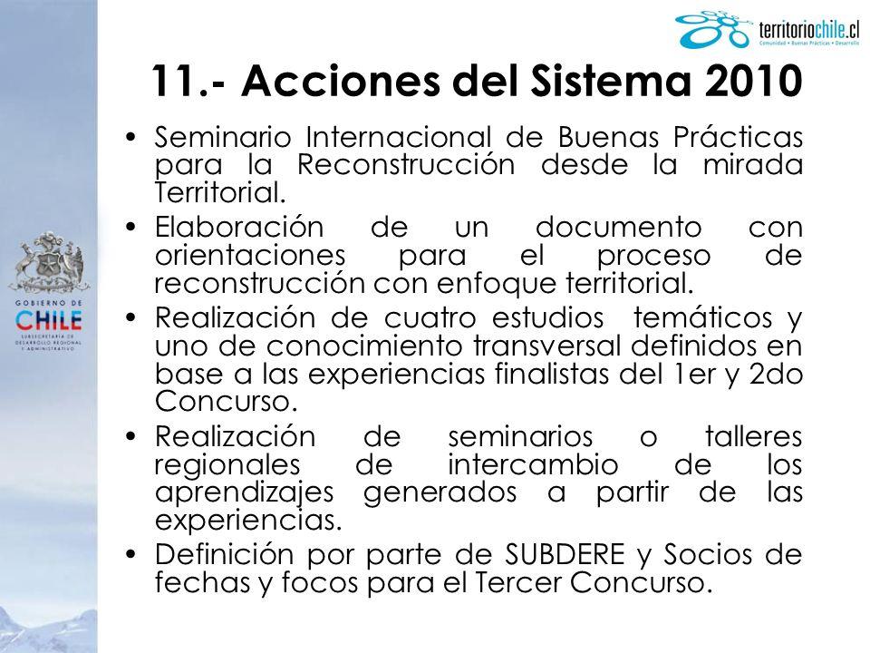 11.- Acciones del Sistema 2010 Seminario Internacional de Buenas Prácticas para la Reconstrucción desde la mirada Territorial. Elaboración de un docum