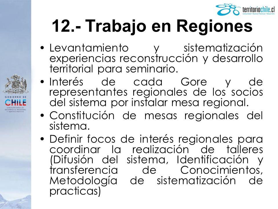 Levantamiento y sistematización experiencias reconstrucción y desarrollo territorial para seminario. Interés de cada Gore y de representantes regional